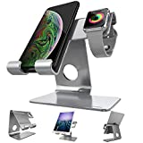 Apple Watch Stand, ZVEproof 2 in 1 Universal Desktop Cellphone Stand and Apple Watch Stand, Aluminum iWatch iPhone Tablet Charging Station Stand Dock for Phone and Apple Watch (38mm and 42mm), Grey