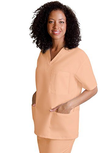 Adar Uniforms Discounted Universal Comfy 3 Pocket Unisex V-neck Tunic Top - 601 - Peach - - Tunic Uniforms Peaches V-neck