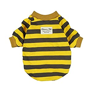 Fitwarm Striped Pet Clothes for Dog T-Shirts Pullover Cat Shirts Cotton Yellow 6