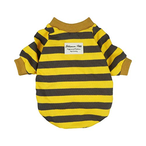 Fitwarm Striped Pet Clothes for Dog T-Shirts Pullover Cat Shirts Cotton Yellow Large ()