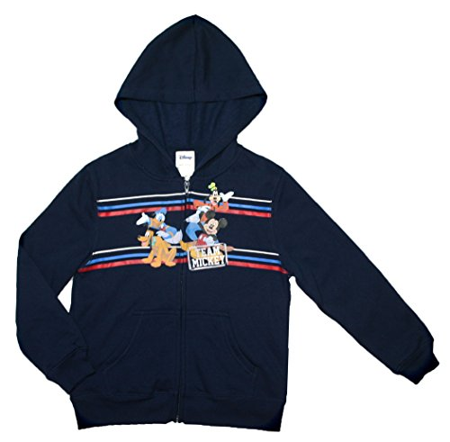 Disney Mickey Mouse Little Boys Hooded Zip up Fleece Sweatshirt (S (6/7)) (Disney Sweatshirt Mickey)