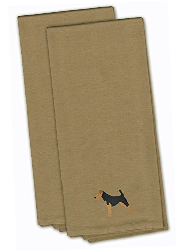 Caroline's Treasures BB3457TNTWE Airedale Terrier Tan Embroidered Kitchen Towel Set of 2, 19 X 25, Multicolor (Terrier Kitchen Towel)