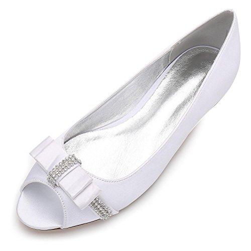 Strass Toe Size yc Court 5049 Bianco Tonda Punta Shoes Prom Wedding Satin Peep Women's 13 Basso Tacco L 0Uz6qxq