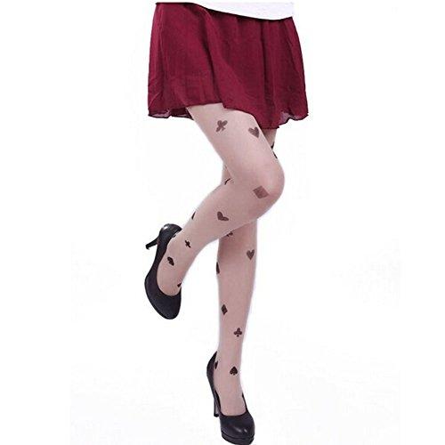cytprimedesign Women's Fun Pattern Printed Tattoo Pantyhose Stockings (poker suit)
