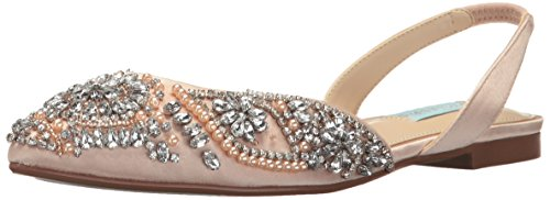 Blue by Betsey Johnson Women's Sb-Molly Pointed Toe Flat, Champagne Satin, 9 M US ()