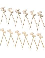 24 Stks Mini Houten Hamer Mallet Houten Krab Mallets Houten Krab Kreeft Mallet Houten Krab Mallets Zeevruchten Schelpdieren Hamers voor Zeevruchten Kreeft Tool Lederen Craft Sieraden Maken Craft