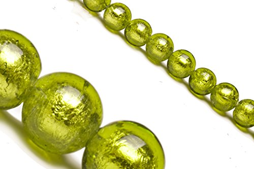 Olive Green Dichroic Glass Bead with Silver Color Foil 10mm Round Sold Per 25 Pcs/string ()