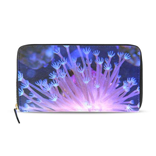 Womens Wallets Mushroom Coral Leather Passport Wallet Change Purse Zip Handbags