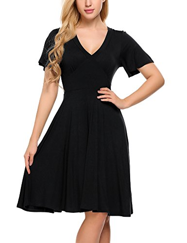 Beyove Women's Casual Crossover V-Neck Short Sleeve Faux Wrap Dress with Tie Belt ()