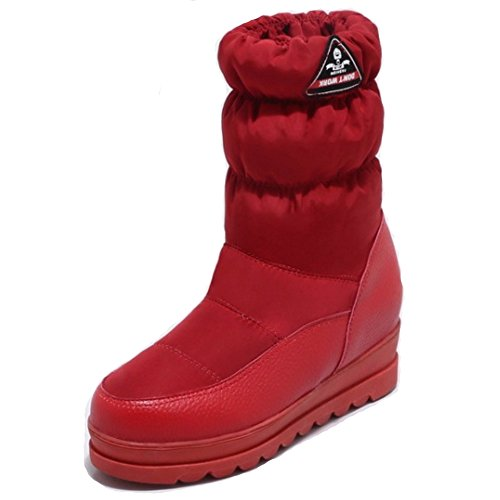 Boots Calf Flat Snow Space Warm Women Red Mid TAOFFEN 1473 Cotton Fashion Boots XREwYcq8