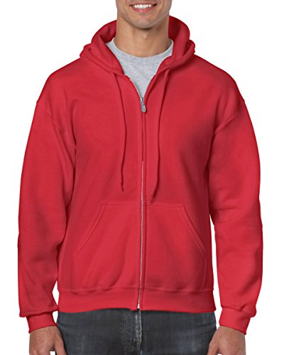 (Gildan Heavy Blend Adult Full Zip Hooded Sweatshirt (Red))