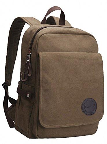 Good&god Vintage Canvas Laptop Backpack School College Rucksack Bag Khaki