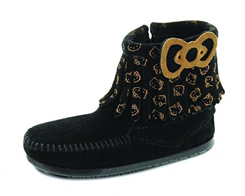 Minnetonka Girls' Hello Kitty Fringe Boot Moc Toe Black 12 M