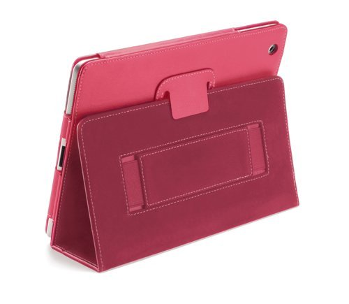 Devicewear Peak iPad 2/3/4 Case: Pink Vegan Leather Cover and Flip Stand with Elastic Hand Strap and Magnetic Closure