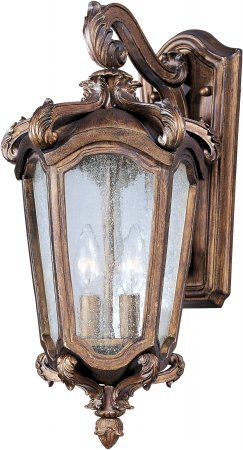 Maxim Lighting 40223CNWN Two Light Walnut Glass Clear Night Glass Wall Lantern, Brown