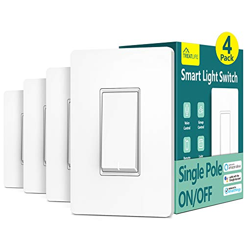 Smart Light Switch Treatlife Single Pole Smart Switch Works with Alexa, Google Home and SmartThings, in-Wall Wi-Fi Light Switch, No Hub Required, Neutral Wire Required, ETL Listed, FCC, 4 Pack
