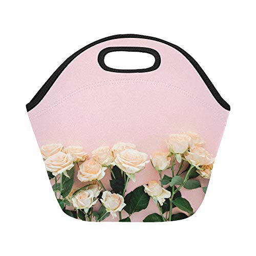 Insulated Neoprene Lunch Bag Rose Tea Drink Romantic Health Beauty Large Size Reusable Thermal Thick Lunch Tote Bags For Lunch Boxes For Outdoors,work, Office, School