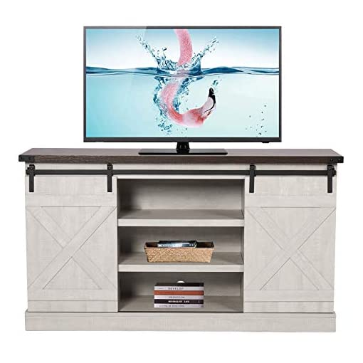 Farmhouse Living Room Furniture SSLine Rustic Wood TV Stand for 60″ Television Farmhouse Barn Door TV Stand Media Storage Console Cabinet with Adjustable Shelves Entertainment Center Living Room Bedroom Furniture farmhouse tv stands