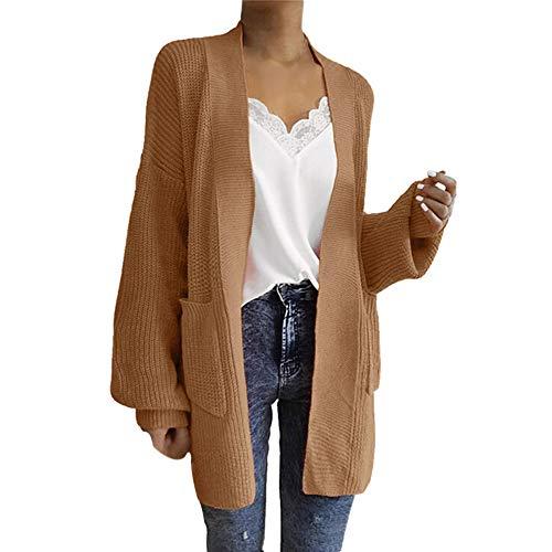 NUWFOR Women Plus Size Casual Loose Sweater Pullover Bat Shirt Blouse (Khaki,Free Size) ()