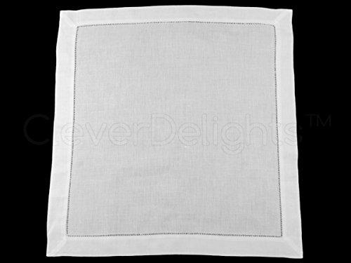 CleverDelights 12 White Hemstitch Dinner Napkins - 20'' - 55/45 Linen Cotton Blend - 20'' x 20'' Ladder Hemstitch Cloth Dinner Napkins by CleverDelights (Image #2)'