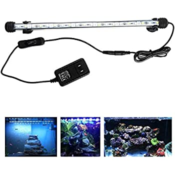 LED Aquarium Light, 15inch Fish Tank Light White Color Underwater Light Submersible Crystal Glass Lights
