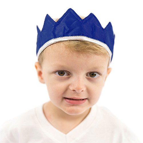 Adult Royal Blue King Costumes (Everfan Navy Blue Satin Crown - Royal Princess, Prince, King, Queen, Dress Up Costume Crown)