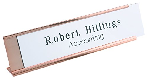 Personalized Name Plate With Wall or Office Desk Holder -- white/black