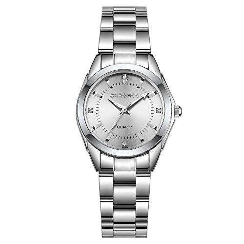 Chronos Women Girls Silver Stainless Steel Quartz Waterproof Watch Round Analog Silver Dial