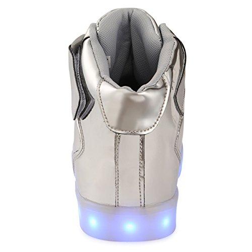 TUTUYU Kids & Adult 11 Farben LED leuchten Schuhe High Top blinkende Turnschuhe für Weihnachten Silber