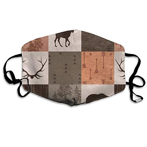 Man Quilt - Hunting - Orange, Rust, Brown - Bear, Moose, Antlers Anti Dust Mask Anti Pollution Washable Reusable Mouth ()