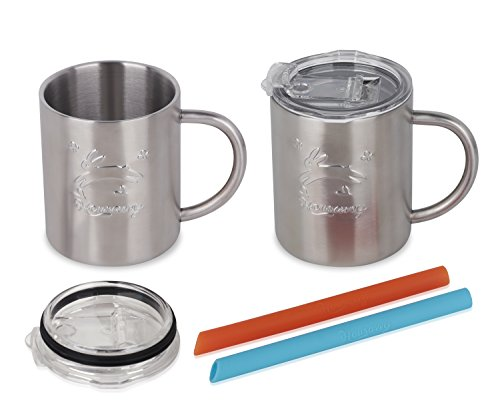 Housavvy Rabbit Stainless Steel Kids Handle Cups with Lids and Straws, 2 PACK by Housavvy (Image #4)