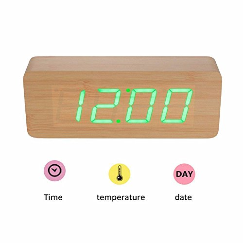 Smart Wooden Digital Alarm Clock, SHOULDBUY 8-Inches Sound Control With Time Temperature (Bamboo-Green LED) by shouldbuy (Image #3)