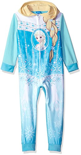 Disney Big Girls' Frozen Elsa Hooded Fleece Blanket Sleeper, Blue, - Disney Sleeper Fleece