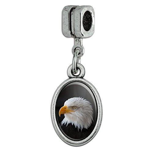 Stoic Bald Eagle Italian European Style Bracelet Oval Charm Bead Eagle Italian Charm Bracelet