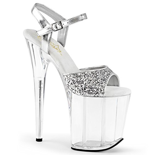"Pleaser FLAMINGO-810 Women 8"" Heel, 4"" PF Ankle Strap Sandal, Slv Gltr-Metallic PU/Clr, Size - 12 from Pleaser"