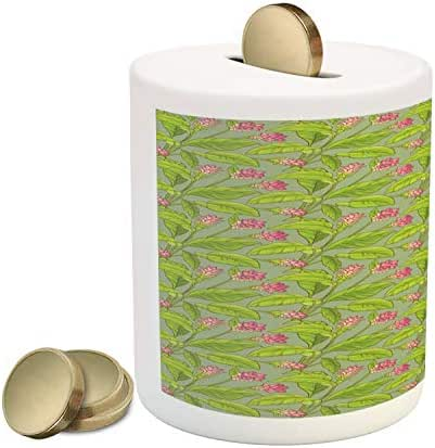 Ambesonne Botanical Piggy Bank, Floral Pattern Cartoonish Turmeric Flower Blossom, Printed Ceramic Coin Bank Money Box for Cash Saving, Pistachio Green Apple Green Pink