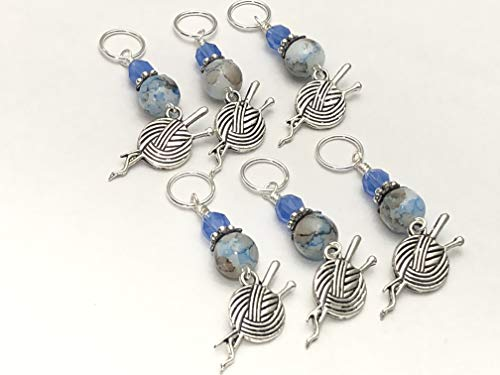 Knitting Stitch Marker Jewelry Set- Yarn & Needles Charms