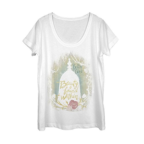 Fifth Sun Beauty and The Beast Women's Found Within White Scoop Neck (Beauty White T-shirt)