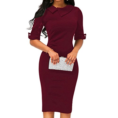 Femmes Jupe Rouge Suite Robe Bodycon Dames Robe Fermeture Crayon Bureau Avec Éclair Revers Knees De Mince Vin Formelle Retro Robe Dos Vicgrey dI1qzd