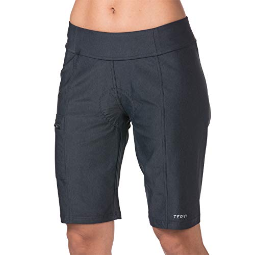 Terry Women's Fixie Bike Short with Slight Chamois - Padded Stretchy Loose Fit - Black Pepper - XX Large