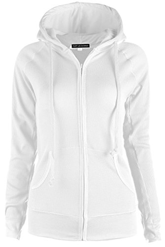 - TOP LEGGING TL Women's Solid Warm Thin Thermal Knitted Casual Zip-Up Hoodie Jacket (Medium, White)