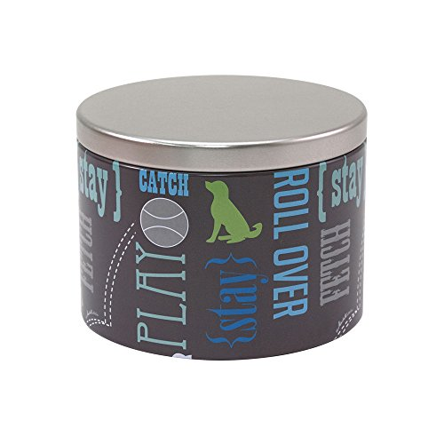 Paw Prints Small Tin Treat Jar, Wordplay Design, 5.25 x 4 x 5.25 Inches (37540)