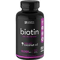 Biotina (10,000 mcg) con aceite de coco orgánico | Ayuda a un cabello, piel y uñas saludables | No está certificado por OMG y está certificado por Vegan (120 Veggie-Softgels)