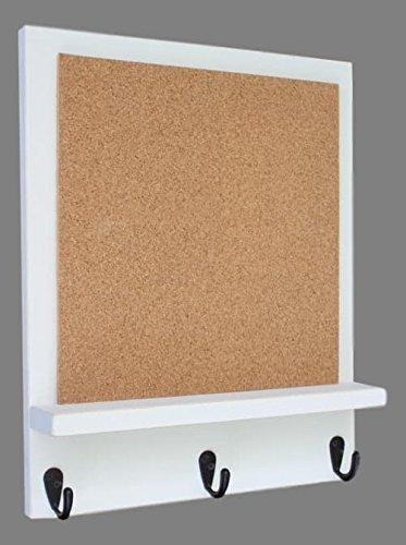 Cork Board White Framed (Legacy studio Decor Cork Board with Shelf & Key Hooks (Distressed, White))