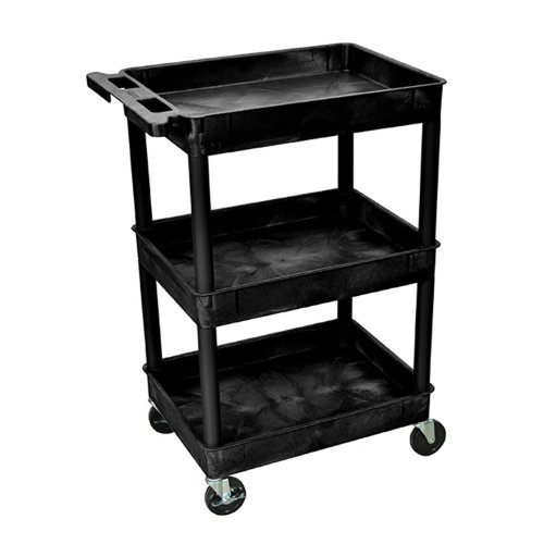 Offex Mobile Home Office Plastic Storage Tub Cart 3 Shelves (OF-STC111-B), Black