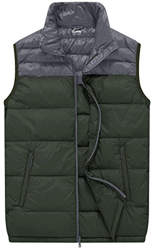 Wantdo Men's Packable Outdoor Ultra Light Heated Down Vest, Army Green, S