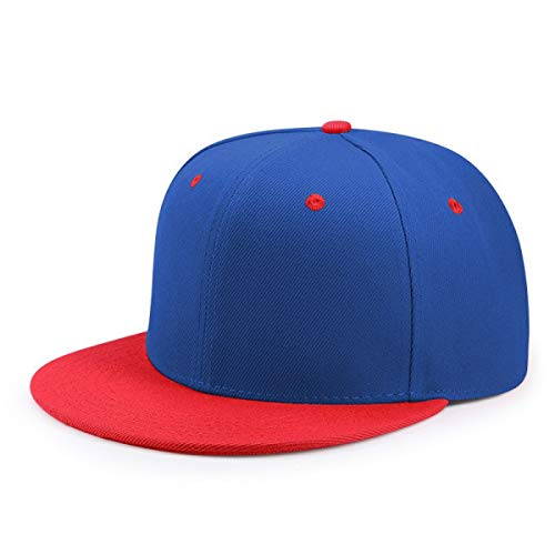 - WEEKEND SHOP Snapback hat Hip Hop Flat Peaked Cap Adult Solid Color Patched Baseball Hat Women and Men Logo Custom Plain Snapback Cap 33 Colos Red and Blue Color