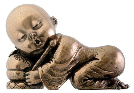 Chinese Garden Temple - Joyful Monk Resting Baby Buddha Decoration Collectible