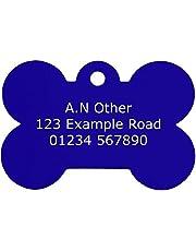 Personalised, Engraved 38x25mm Bone Dog Tags, Both Sides Engraved, Choice Of Colours, Medium/Large Aluminium Pet Tags (Blue)