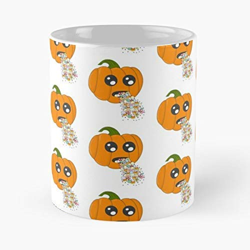 Halloween Pumpkins Puking (Halloween Pumpkin Puking Sick C Handcrafted Trick or Treat 11oz)